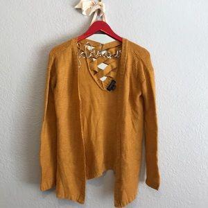 Splendid Sweaters - Splendid mustard yellow criss cross back cardigan